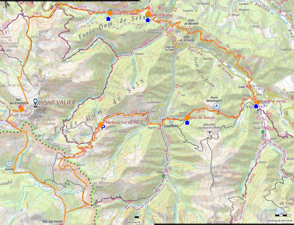 Vue d'ensemble du circuit Tour du Mont Valier