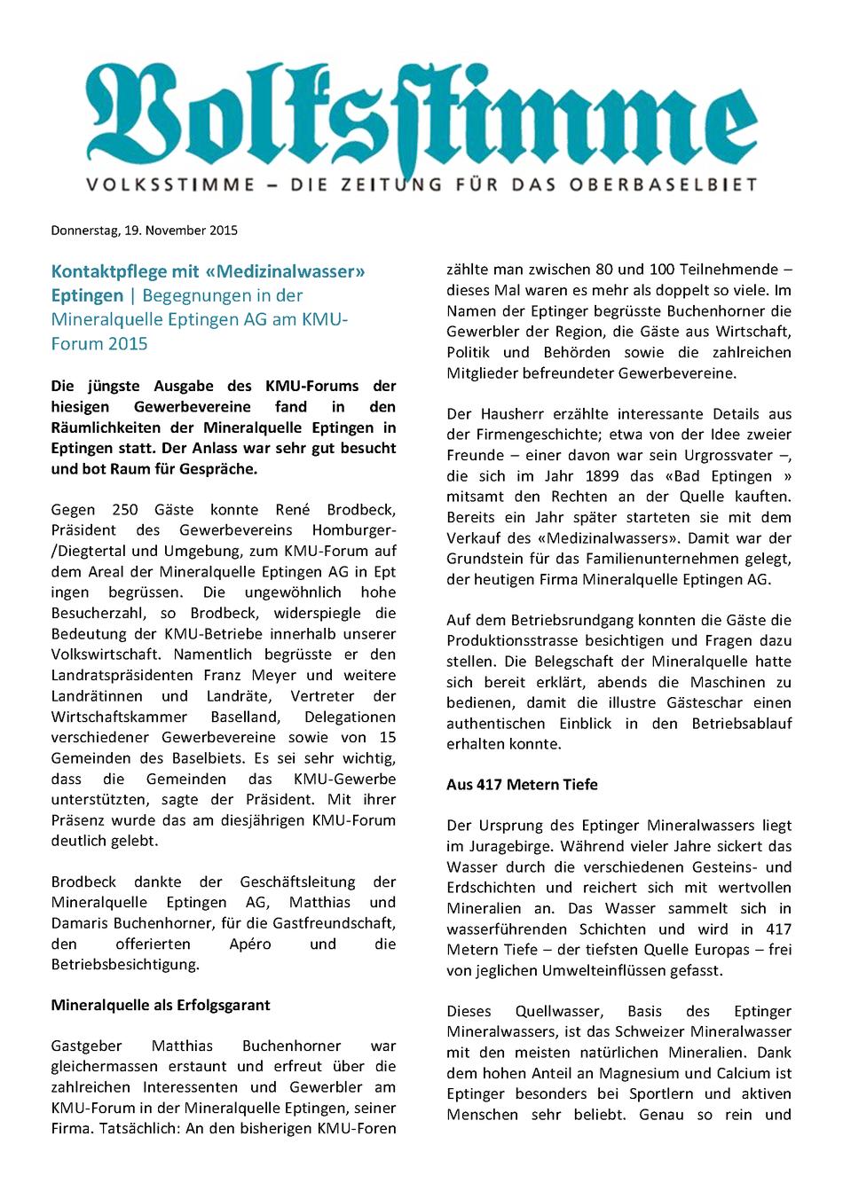 Artikel in der Volksstimme über Mineralquelle Eptingen AG