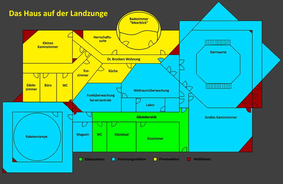 Das Haus auf der Landzunge - Der Gebäudeplan | Grafik: J. Nitzsche