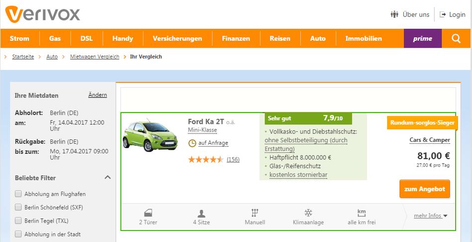 CheckEinfach | Mietwagen Verivox