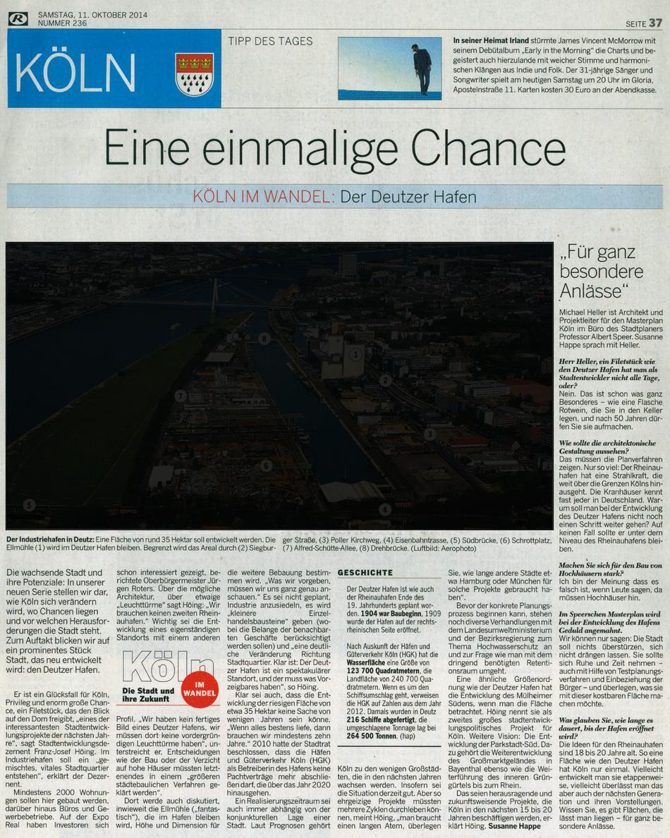 Eine einmalige Chance, Artikel der Kölnischen Rundschau vom 11. Oktober 2014