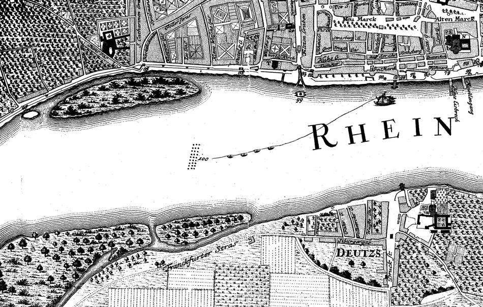 Poller und Deutzer Ufer um 1752.