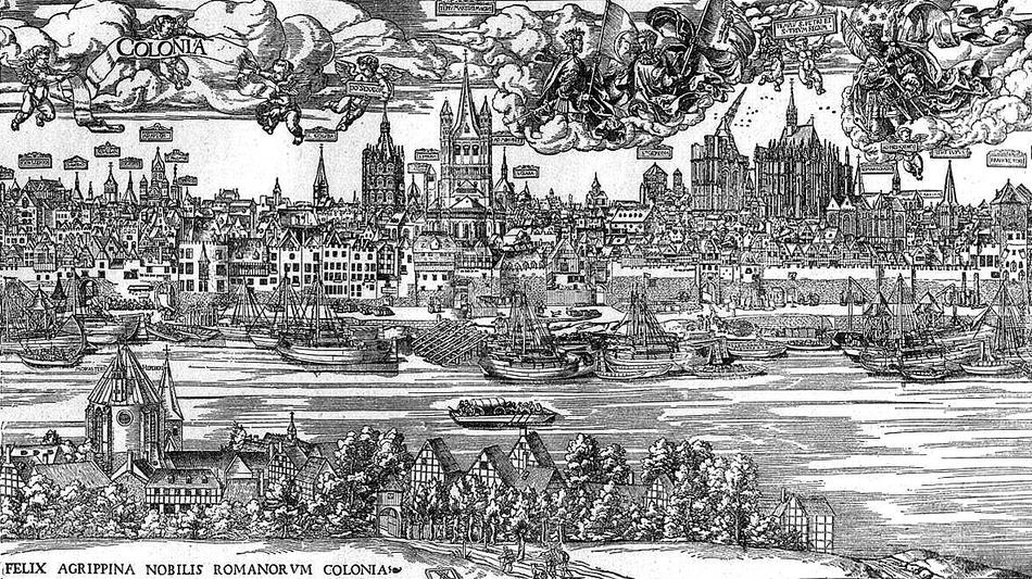 Städtemarketing aus dem Jahr 1531: Der Holzschnitt des Künstlers Anton von Worms repräsentiert den Machtwillen Kölns. Deutz ist ein dörfliches Idyll am anderen Rheinufer.