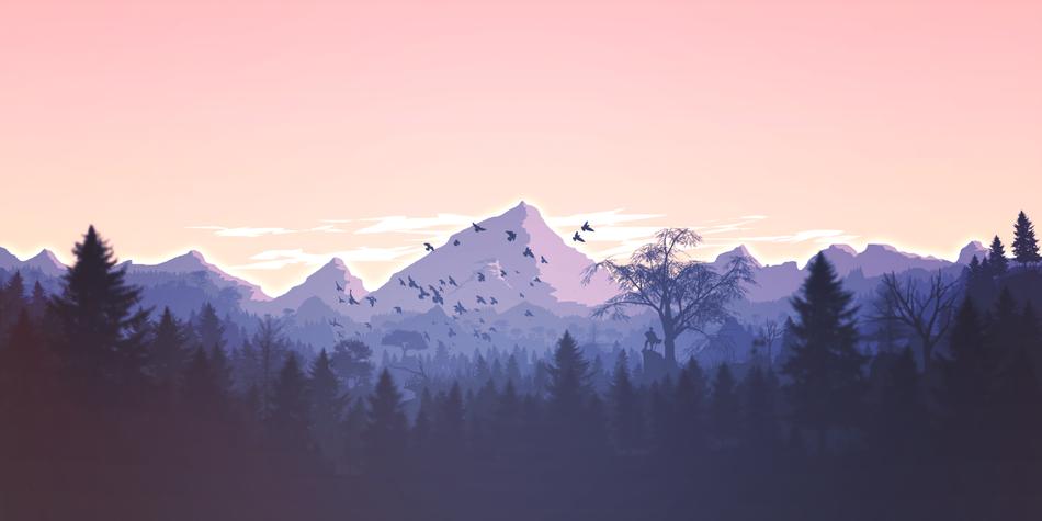 Panoramica con il disegno di montagne