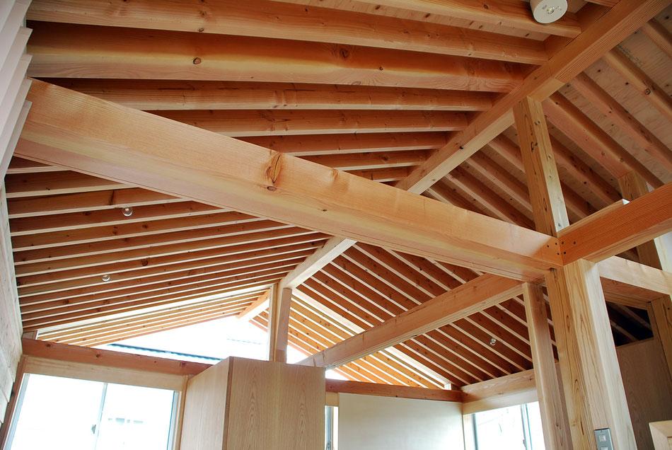 屋根垂木と柱梁。梁下部に建具レール用の溝を掘っており、鴨居の役目も果たす。  屋根垂木は外部へと連続している。