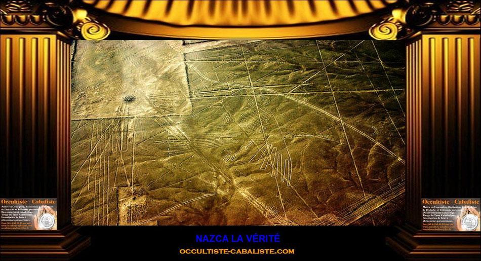 NAZCA LA VÉRITÉ Découverts en 1926, les géoglyphes de Nazca, au Pérou, représentent d'immenses figures tracées au sol, qui s'étendent parfois sur plusieurs kilomètres. Leur origine remonte entre 200 e