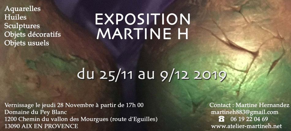 exposition vente Noël 2019 - créations artistiques - pièces uniques - peinture sculpture Aix en Provence