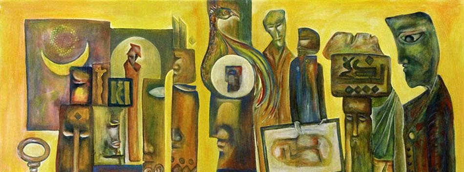 Kunstkarawanserei, Figuren und Symbole der syrischen Kultur, Acryl auf Leinwand. Ibrahim Alawad ist verteten auf der Aachener Kunstroute 2017 in der Galerie Frutti dell'Arte und in der Aula Carolina