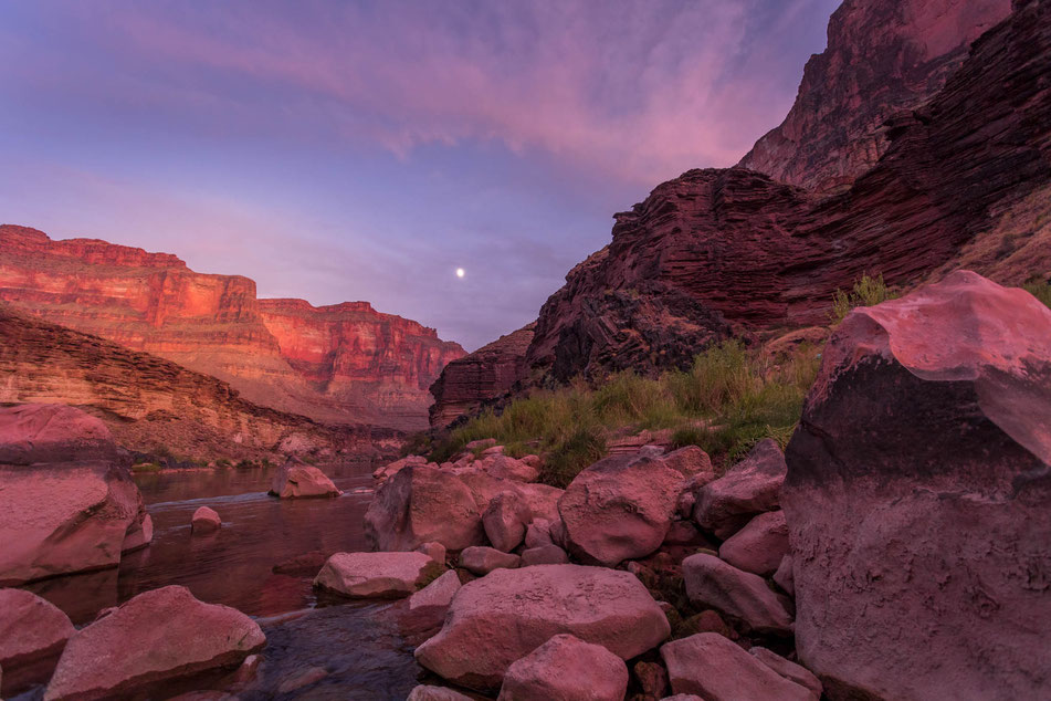 grand canyon, rafting, mond, abendstimmung, rosa, expedition, gcex, colorado, river, abenteuer, schlauchboot, landschaft