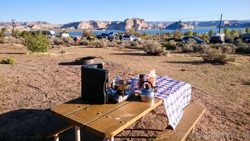 jucy, lake, powell, wahweap, campground, jucy, campervan, tipps, arizona, breakfast