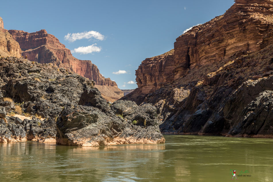 geologie, grand canyon, tapeats, rafting, colorado, river, usa