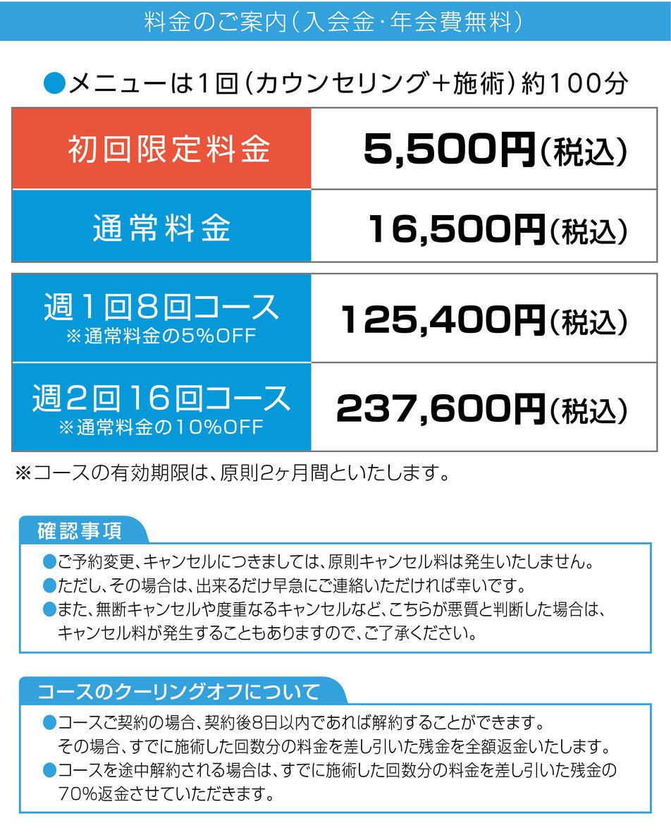 京都脳梗塞リハビリセンターの施術メニューと料金