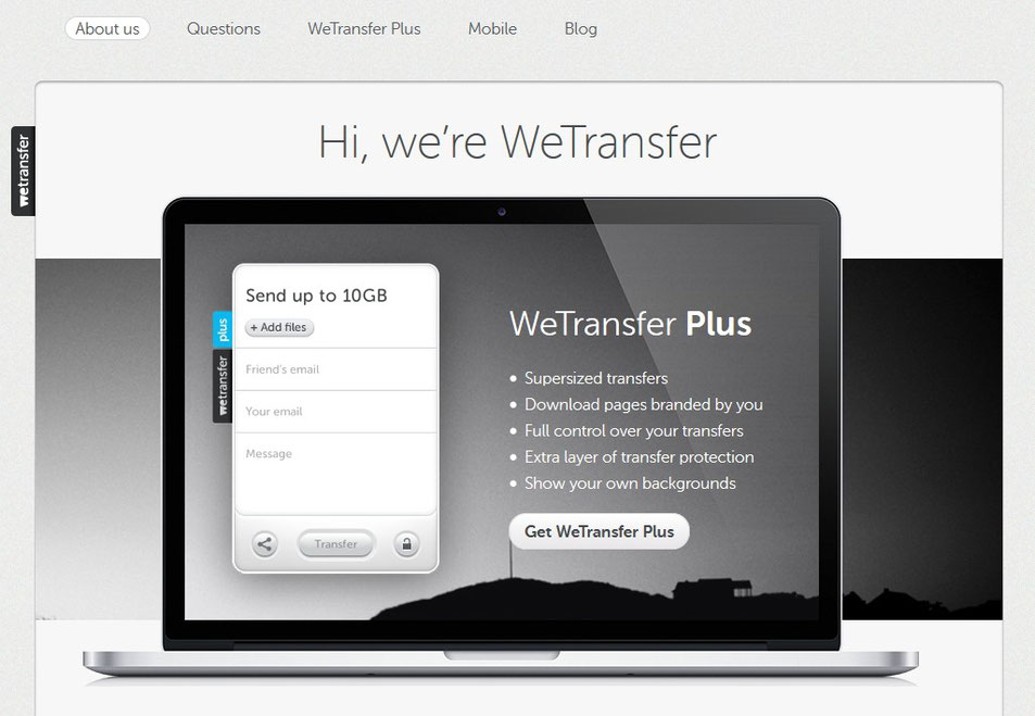 screenshot wetransfer.com