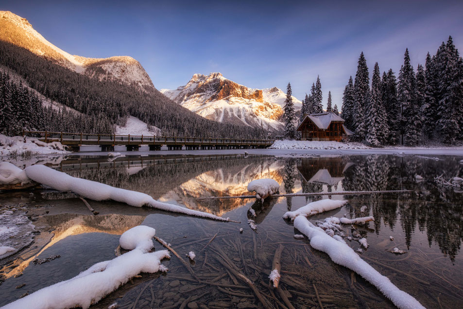 Emerald Lake in winter. Two week road trip itinerary around the Canadian Rockies