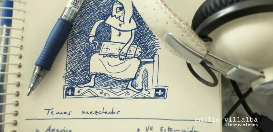 """Zanfoñista dibujado mientras escuchaba las tomas de audio en el disco """"El Doncel del Mar"""". Realizado a bolígrafo."""