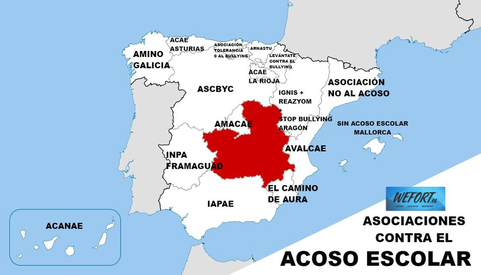 ASOCIACIONES CONTRA EL ACOSO ESCOLAR EN ESPAÑA POR COMUNIDADES AUTONOMAS