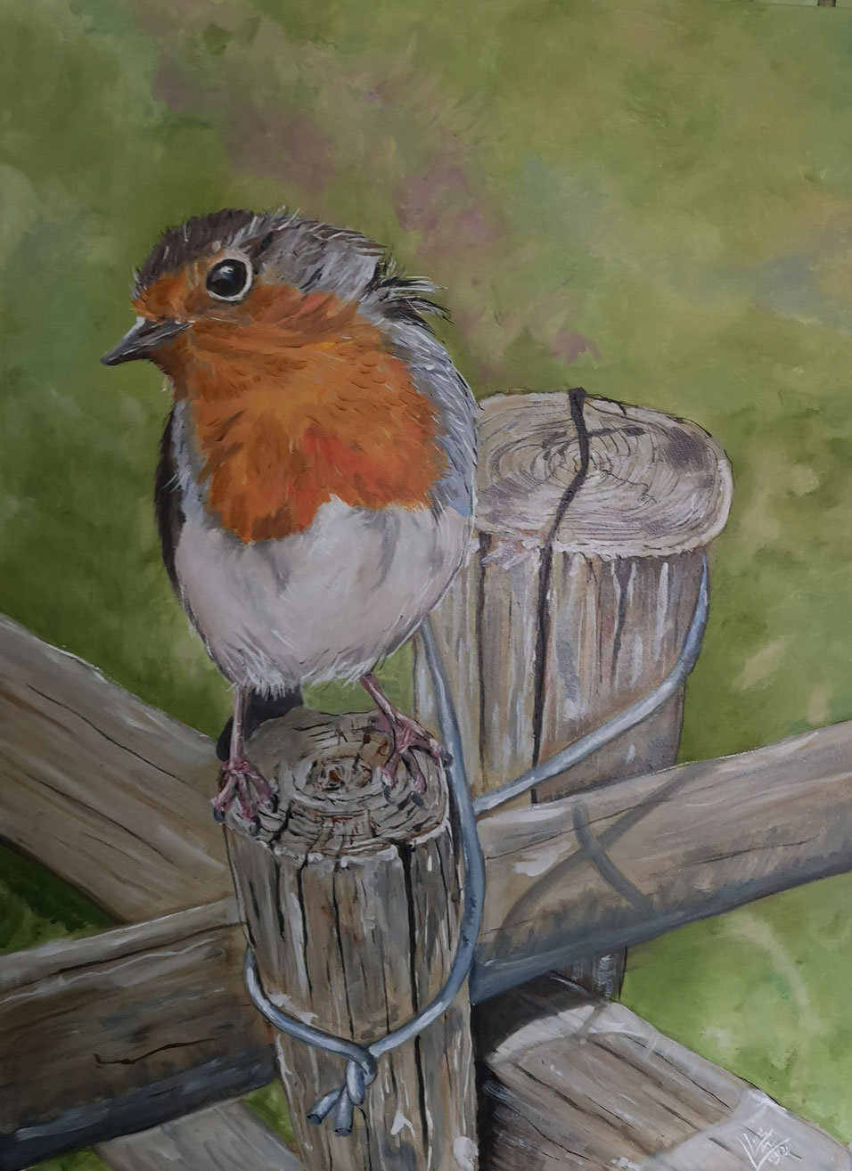 "GIant robin ""Cross road"" 60x80 cm"