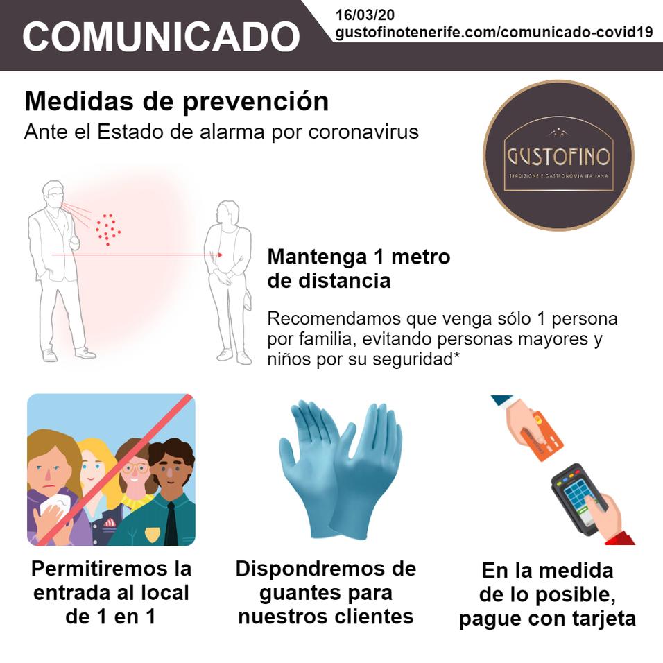 Comunicado Coronavirus - Gustofino Tenerife