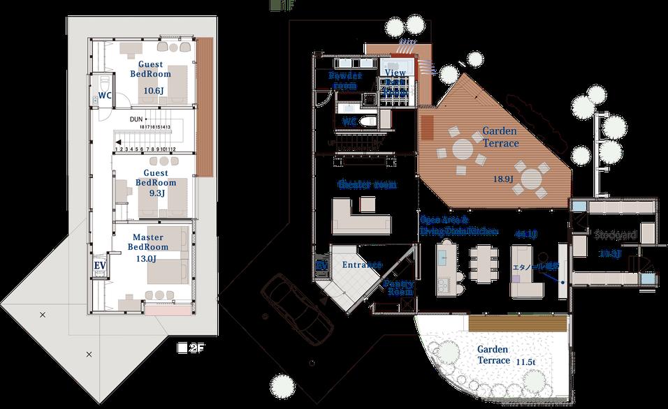 プルミエデュオ 旧軽井沢倶楽部 土地建物価格1,820万円 2,000坪の敷地内 間取り