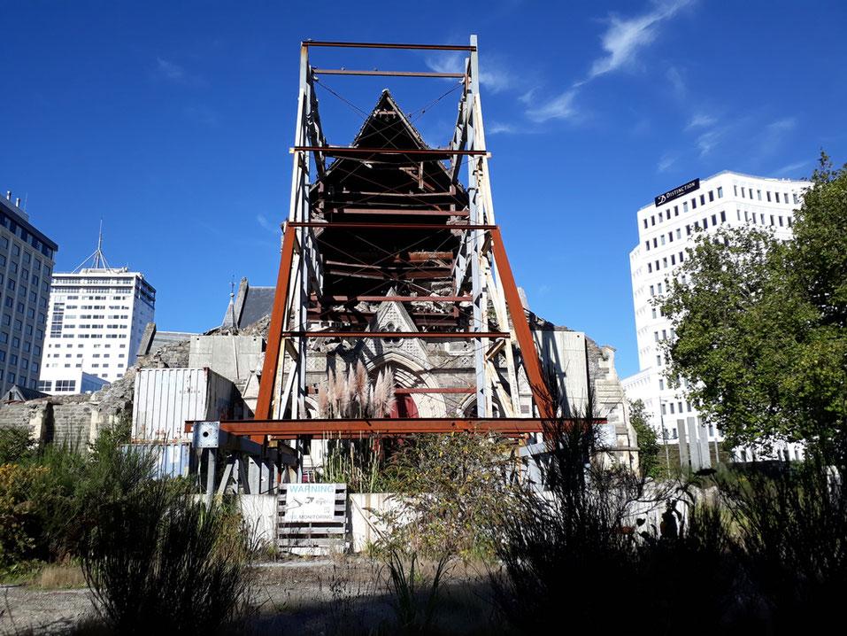 Vom Erdbeben zerstörte Kathedrale in Christchurch