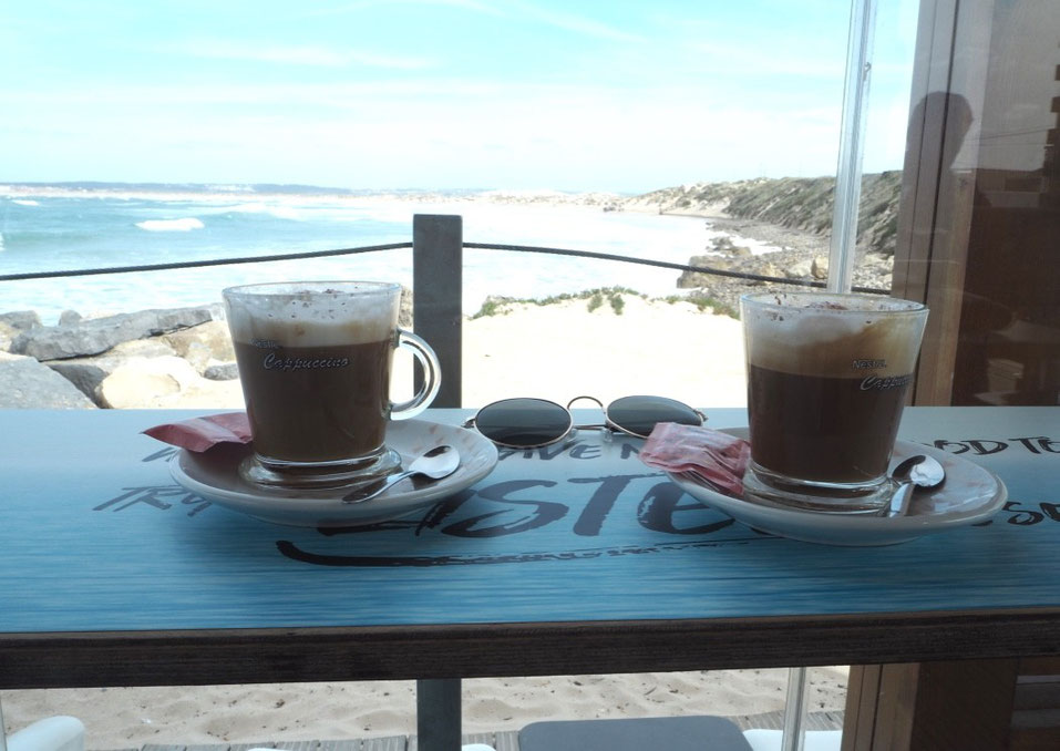 Coffee with a view in Peniche Beach Bar
