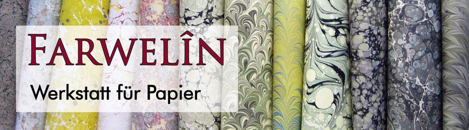 Werkstatt für Papier, Marmorpapier, Handmarmorpapier, handgemachtes Marmorpapier, Buchbinderei