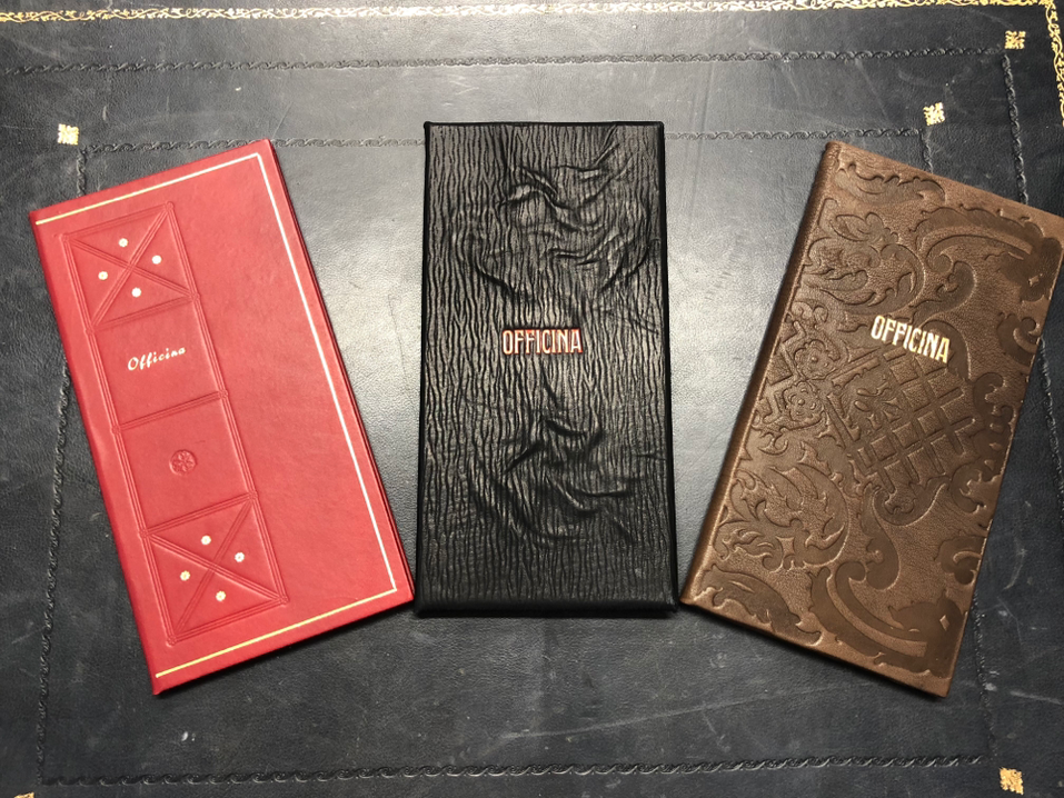 Personalized leather menu Officine Riunite Milanesi by Conti Borbone