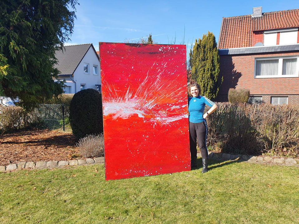 rotes abstraktes großes Bild