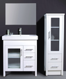ARTO vanity with glass doors & thick rectangular basin top - 750mm