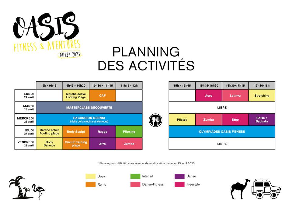 planning danse-fitness Oasis Fitness & Aventures Agadir 2020