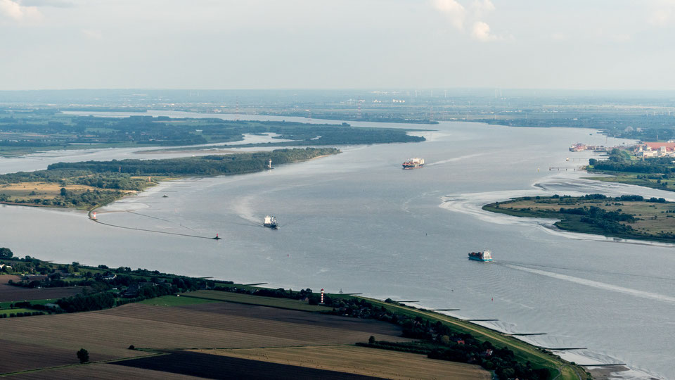 Aerial of Elbe river near Hamburg