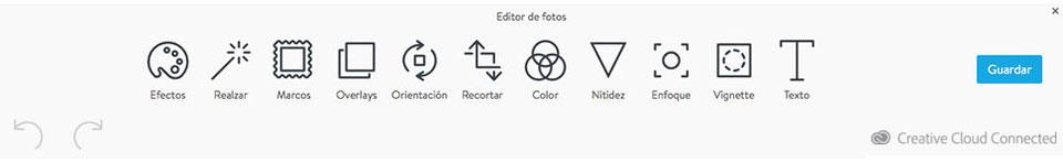 ¡Esta es la paleta de opciones de Adobe Creative SDK!
