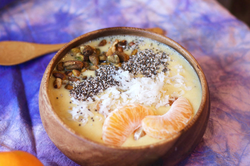 Vegan Mandarin Orange Creamy Coconut Smoothie Bowl