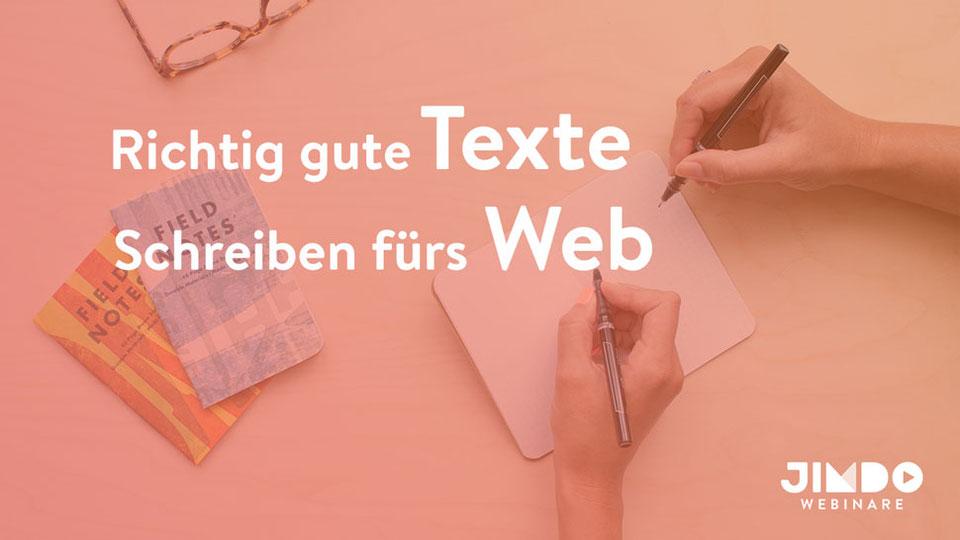 Jimdo Webinar Richtig gute Texte fürs Web