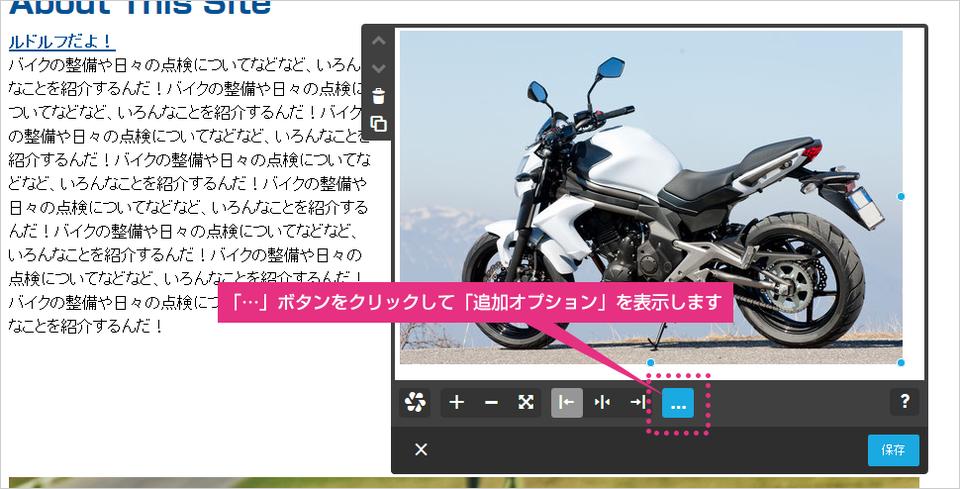 画像機能の追加オプションボタンの案内