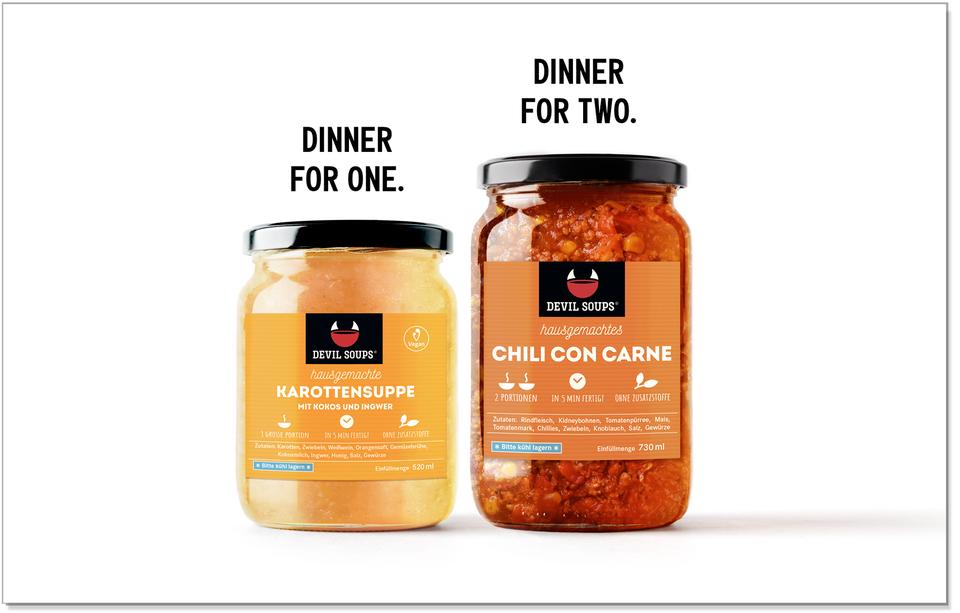 Devil Soups Werbung Kampagne für Einmachgläser Etikettengestaltung