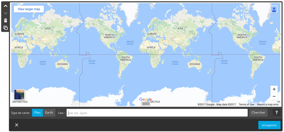 aperçu de l'élément Googlemap de Jimdo