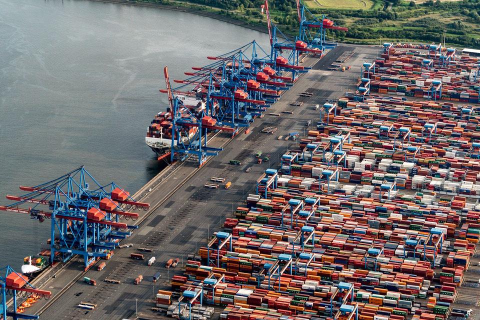 Aerial of Container terminal Burchardkai, Hamburg