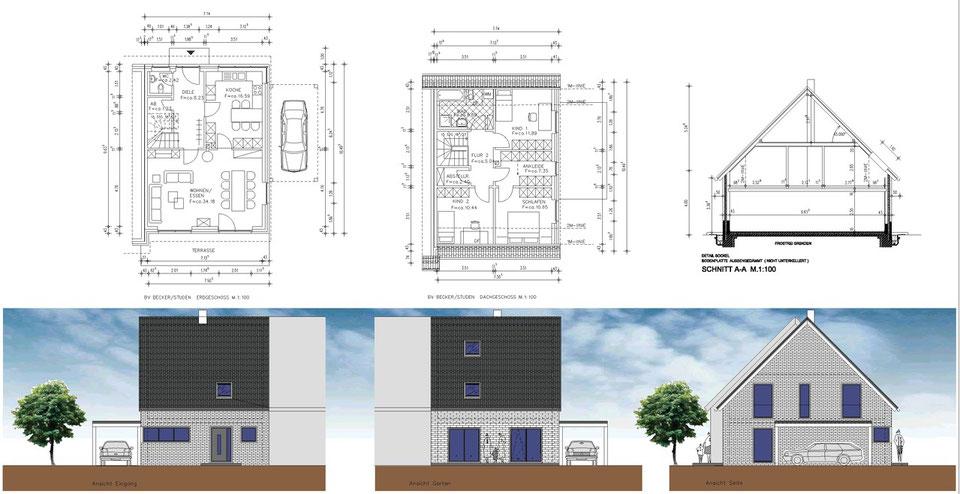 bild1: grundriss, ansichten,schnitt-doppelhaus münster roxel