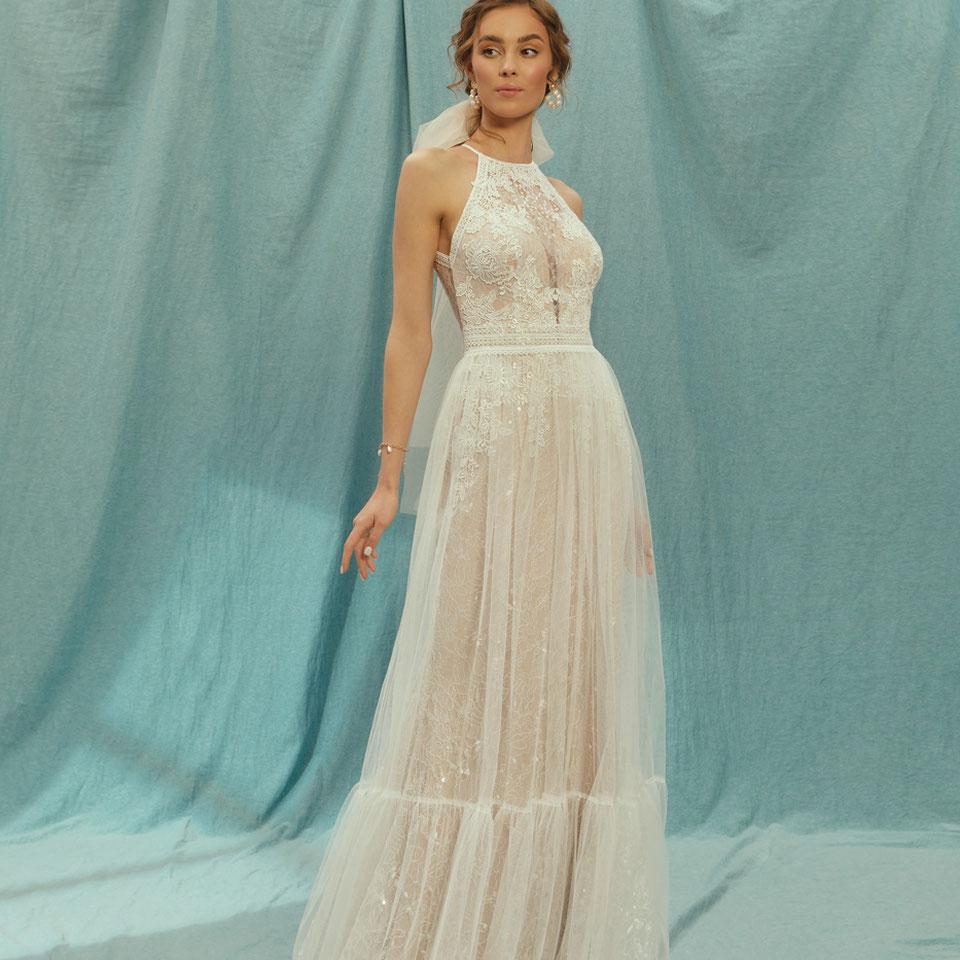Boho Brautkleid münchen 2 Teiler Tüll und mermaid nude Glitzer Le Rina Sommerhochzeit elegant