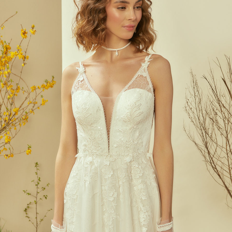 Le Rina Brautkleid mylovely brautkleider Google Perlen 3D Blüten ivory Glitzer