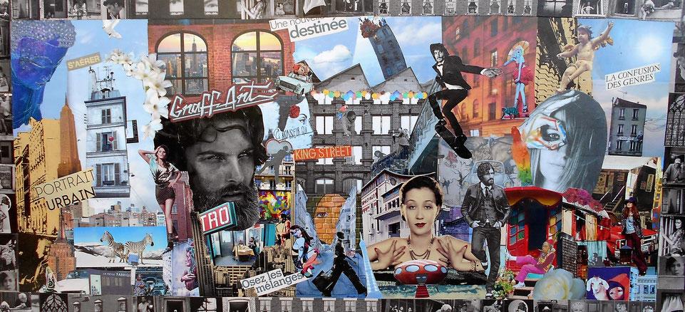 """tableau personnalisé, collage """"Portrait urbain"""""""