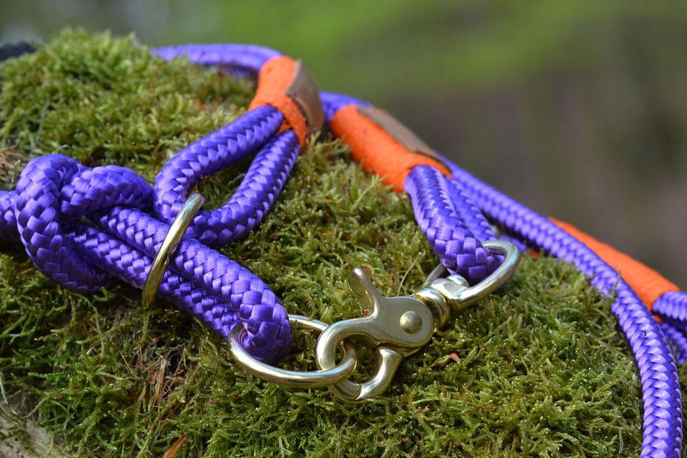 Verstellbare Hundeleine in violett aus Tauwerk
