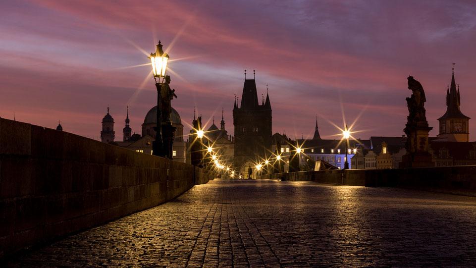 Red sky over Charles Bridge, Prague
