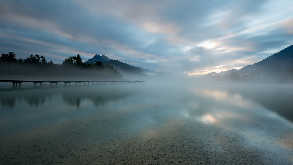 Fuschlsee jetty with cloudy morning sky