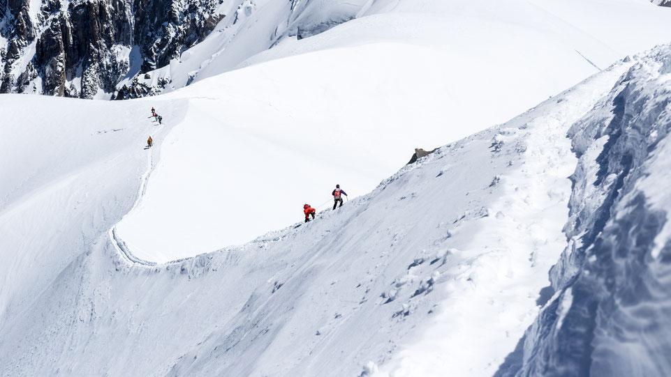 Mont Blanc mountain climbers near Chamonix