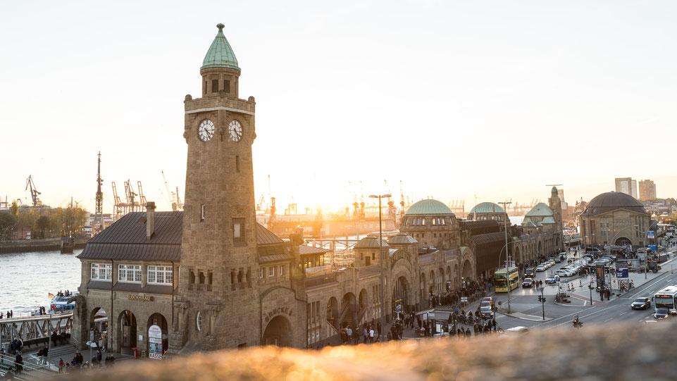 Hamburg Landungsbrücken at sunset