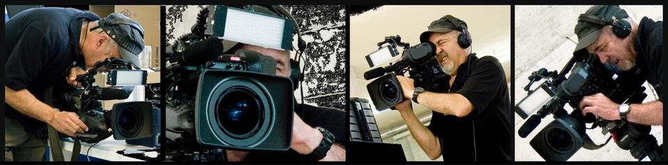 Ein Kameramann mit Fernsehkamera bei der Arbeit, filmt aus verschiedenen Positionen