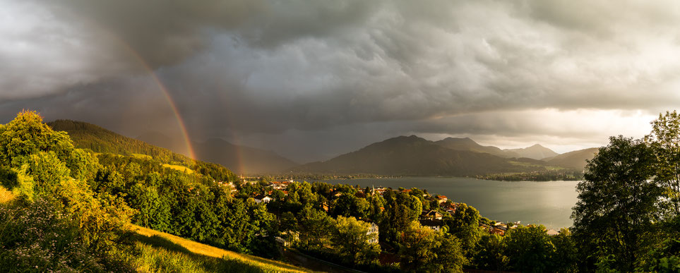Rainbow after thunderstorm at Tegernsee