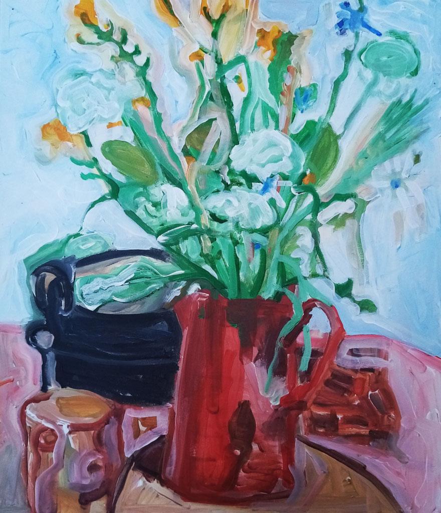 Stilleben mit roter Milchkanne . Acryl auf Leinwand . 70 x 60 cm . (Rumänien) 2020